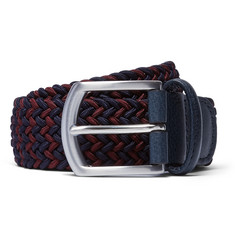 Anderson's - 3.5cm Burgundy Leather-Trimmed Elasticated Woven Belt