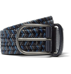Anderson's - 3.5cm Blue Woven Leather Belt