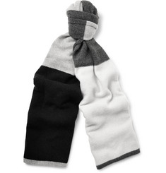 The Elder Statesman Colour-Block Wool and Cashmere-Blend Scarf
