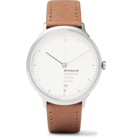 MONDAINE Helvetica No1 Light Stainless Steel And Leather Watch in White
