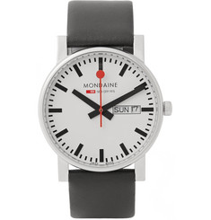 Mondaine Evo Day-Date Stainless Steel and Leather Watch