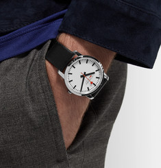 Mondaine Simply Elegant Stainless Steel and Leather Watch