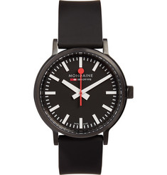 Mondaine Stop2Go Brushed-Steel Watch