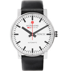 Mondaine Evo Big Day-Date Stainless Steel and Leather Watch