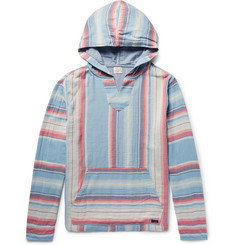 Faherty Baja Striped Cotton-Twill Hoodie