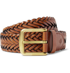Mulberry 4cm Brown Braided Leather Belt