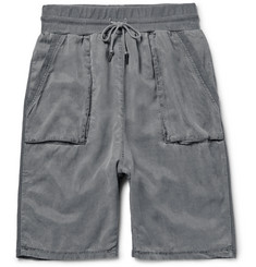 John Elliott Slim-Fit Panelled Cotton-Jersey and Washed-Twill Shorts