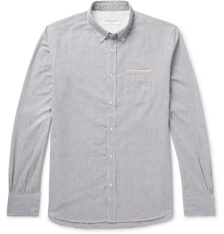 Officine Generale Striped Cotton Oxford Shirt In Gray