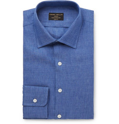Emma Willis Blue Slim-Fit Linen Shirt