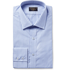 Emma Willis Blue Slim-Fit Checked Cotton Shirt