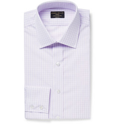 Emma Willis Purple Slim-Fit Checked Cotton-Poplin Shirt