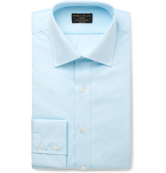Emma Willis Turquoise Slim-Fit Checked Cotton Shirt
