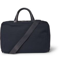 Álvaro - Leather-Trimmed Canvas Briefcase
