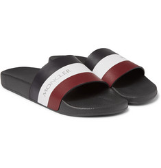 Moncler - Basile Striped Leather and Rubber Slides