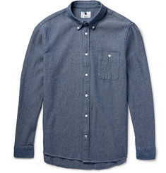 NN07 New Derek Slim-Fit Melangé Cotton-Chambray Shirt