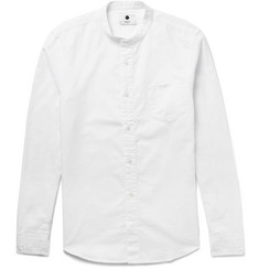 NN07 Samuel Grandad-Collar Cotton and Linen-Blend Shirt