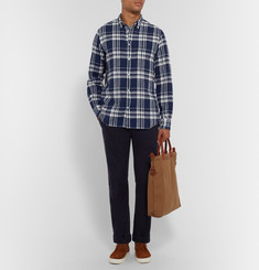 Officine Generale Checked linen and cotton-blend shirt