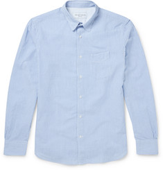 Officine Generale - Slim-Fit Penny-Collar Striped Cotton-Seersucker Shirt