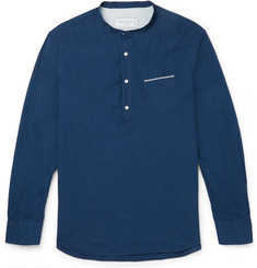 Officine Generale Auguste Grandad-Collar Selvedge-Cotton Shirt