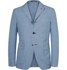 Officine Generale Indigo and White Slim-Fit Houndstooth Cotton Blazer