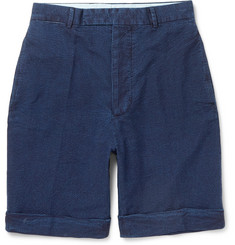 Officine Generale Wide-Leg Cotton-Seersucker Shorts
