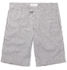 Officine Generale Striped Linen and Cotton-Blend Shorts