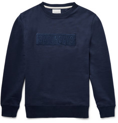 Saturdays NYC Bowery Bar-Embroidered Loopback Cotton-Jersey Sweatshirt