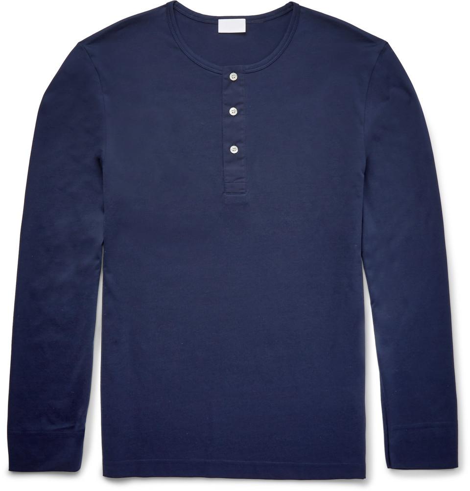 Pima Cotton-jersey Henley T-shirt - Navy