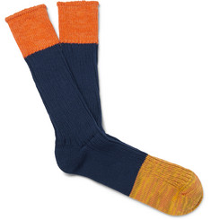Anonymous Ism Colour-Block Cotton-Blend Socks