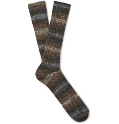 Anonymous Ism Dégradé Stripe Cotton-Blend Socks