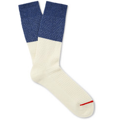 Anonymous Ism Colour-Block Waffle-Knit Cotton-Blend Socks