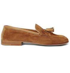 Edward Green Portland Tasselled Leather-Trimmed Suede Loafers