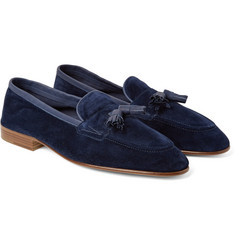 Edward Green - Portland Tasselled Leather-Trimmed Suede Loafers