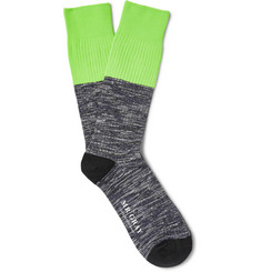 Mr. Gray - Two-Tone Mélange Stretch Cotton-Blend Socks