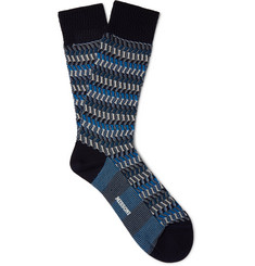 Missoni Crochet-Knit Zig-Zag Cotton-Blend Socks