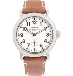 Shinola The Runwell Stainless Steel and Leather Watch 36mm
