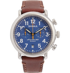 Shinola The Runwell 47mm Chronograph Stainless Steel and Leather Watch