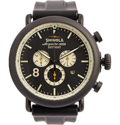 Shinola The Runwell Contrast Chronograph PVD Stainless Steel and Rubber Watch 47mm