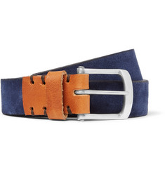 Oliver Spencer 3cm Navy Suede and Leather Belt