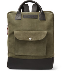 Oliver Spencer Leather-Trimmed Suede Backpack