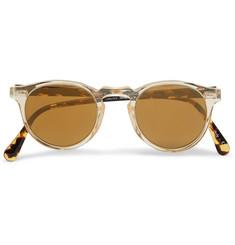 Oliver Peoples Gregory Peck Round-Frame Acetate Mirrored Sunglasses