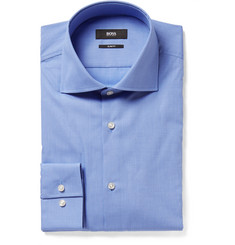 Hugo Boss Light-Blue Slim-Fit Spread-Collar End-On-End Cotton Shirt