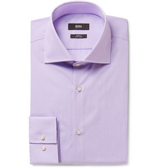 Hugo Boss Lilac Slim-Fit Spread-Collar End-On-End Cotton Shirt