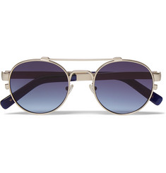 Simon Miller + MOSCOT Leather-Trimmed Round-Frame Metal Sunglasses