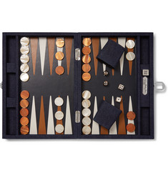 Hector Saxe Denim-Bound Leather Backgammon Set
