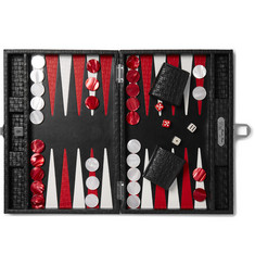 Hector Saxe Leather Backgammon Set