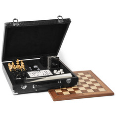 Hector Saxe Croc-Effect Leather Multi-Game Set