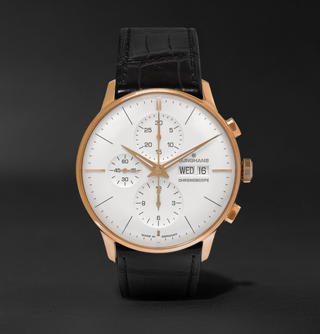 Meister Chronoscope 40mm Gold-tone And Alligator Watch - White