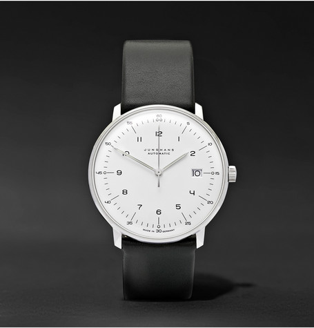 Max Bill Automatic 40mm Stainless Steel And Leather Watch - White