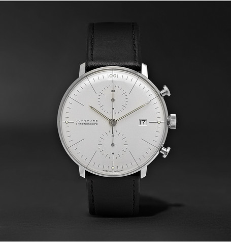 Max Bill Chronoscope 40mm Stainless Steel And Leather Watch - White